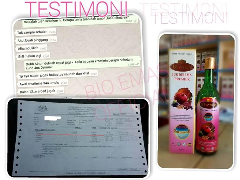 testimoni pesakit buah pinggang menggunakan Jus Delima Bio Emas